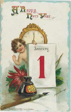 HAPPY NEW YEAR OLD POSTCARD 7