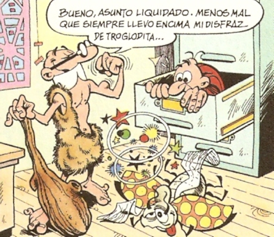 Mortadelo y Filemóm por Ibañez (disfraz de troglodita)