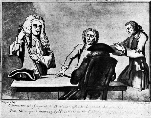 Alexander Pope at Button's Coffee House—1730 From a drawing by Hogarth. El hombre frente a la figura sentada se piensa que es Pope