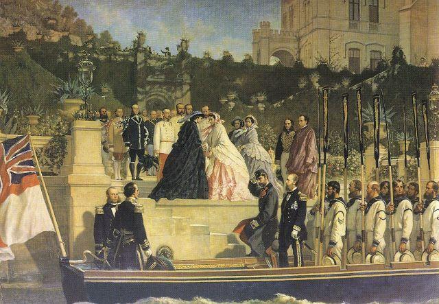 Painting by Cesare Dell'Acqua (1865) Charlotte welcomes Empress Elisabeth of Austria at Castello di Miramare 1861