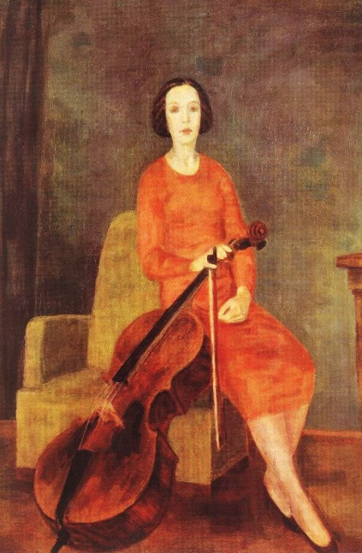 Bereny (Hungarian artist, 1887-1953)  Woman with Cello 1937