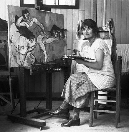 Original caption: Madame Suzanne Valadon, born in Montmarte, returned there to become a famous as a painter.  Raised as a member of an acrobatic troupe, here circus career was ended when she fell from a great height.  While posing for Povis de Chavannes and Toulouze Lautree she did some sketching of her own.  She attracted the attention of the great master Degas, who developed her into one of the foremost artists of France. ca. 1926