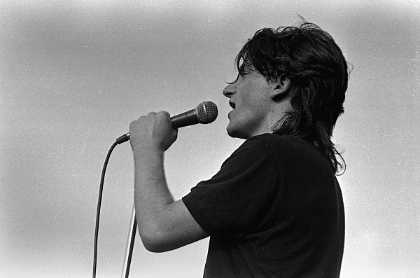 Bono of U2 pictured in 1981 when they played support to Thin Lizzy and Hazel O'Connor at Slane.