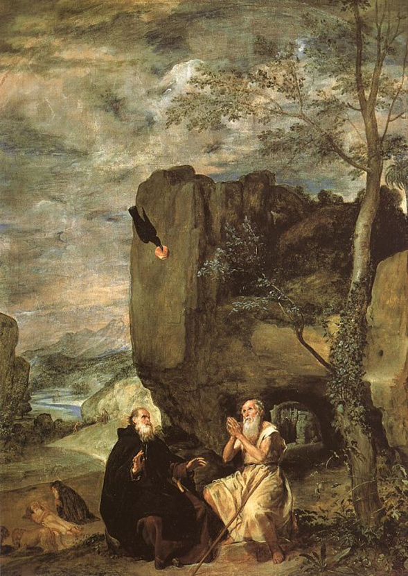 Velázquez: San Pablo ermitaño recibe la visita de San Antonio abad. Madrid, Prado. Pintado para la ermita de San Antonio en el Buen Retiro donde tenía un marco en medio punto.