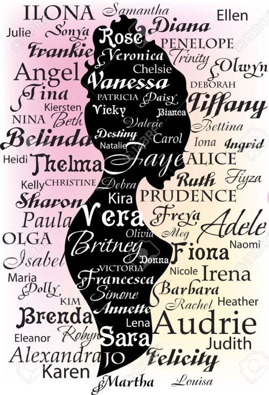 14225392-Silueta-de-la-mujer-a-partir-de-los-nombres-y-las-letras-Foto-de-archivo