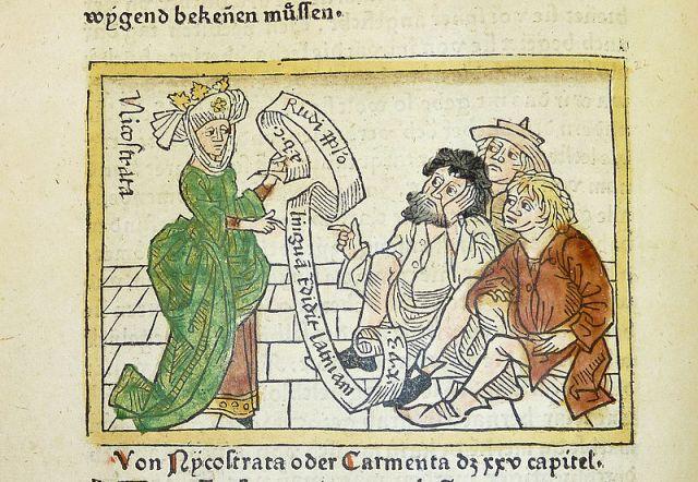 Nicostrate_or_Carmenta_Giovanni Boccaccio's De mulieribus claris, printed by Johannes Zainer at Ulm ca. 1474