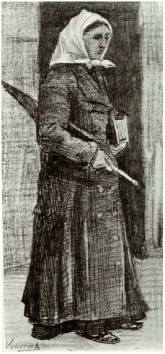 Sien-with-Umbrella-and-Prayer-Book_F1052_Vincent_van_Gogh