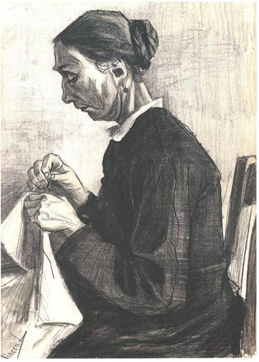 Sien,_Sewing,_Half-Figure_F1025_Vincent_van_Gogh