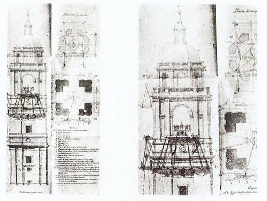 Proyecto de Ventura Rodríguez para asegurar la torre de la catedral de Valladolid.