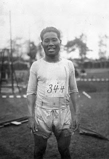Original caption: S. Kanaguri, long distance man for the Japanese Olympic team. ca. 1924