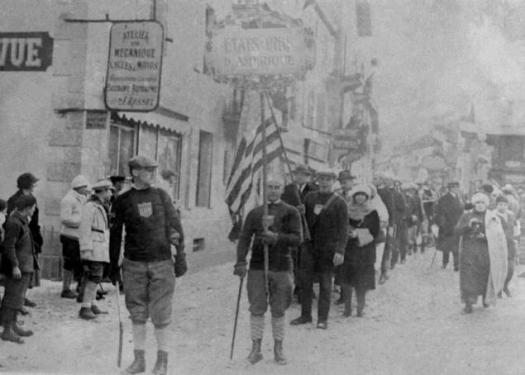 La ceremonia de inauguración de los Juegos Olímpicos de Invierno de Chamonix, Francia, el 25 de enero de 1924