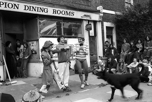 Frestonia 1st birthday celebration, Road London W11. October 1978. All rights reserved. No publication or syndication without prior permission. ©Tony Sleep 2004