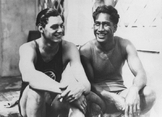 Johnny Weissmuller and Duke Kahanamoku Smiling