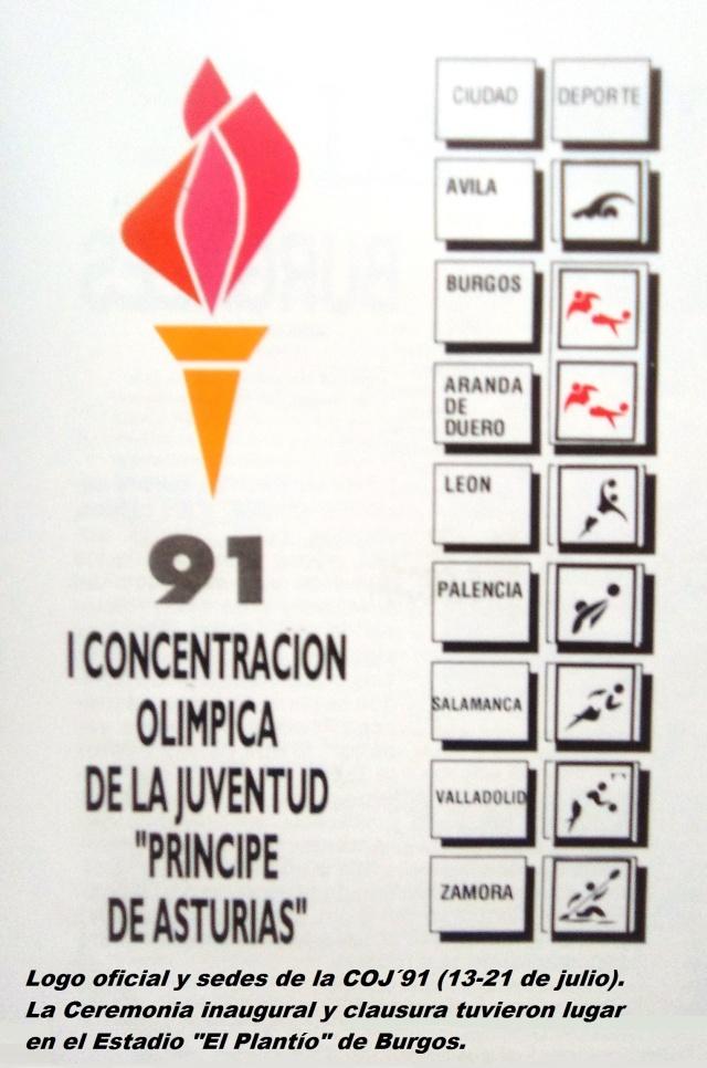 COJ´91.-Logo-oficial-y-sedes-Burgos-13-a-21-de-julio-1991.