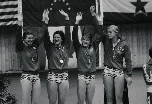 Ulrike Richter, Hannelore Anke, Andrea Pollack y Kornelia Ender (de izquierda a derecha)