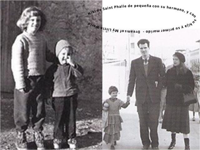 Niki de Saint Phalle con su hermano (izquierda) y con su primer marido y su hijo (derecha)