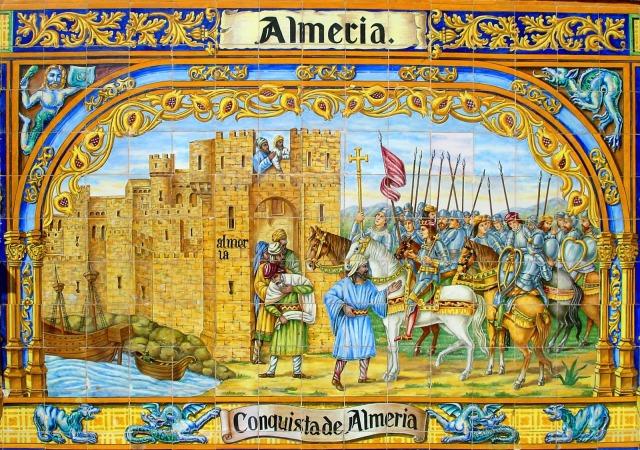 Cerámica de los bancos de la Plaza Mayor de Sevilla, realizada por el pintor-ceramista Pedro Navia