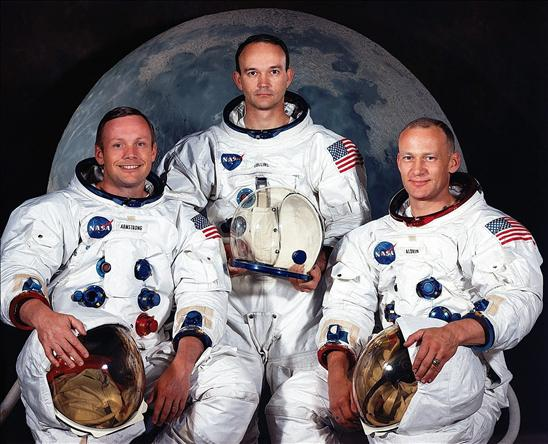 Los astronautas: William Anders, Jim Lovell y Frank Borman.