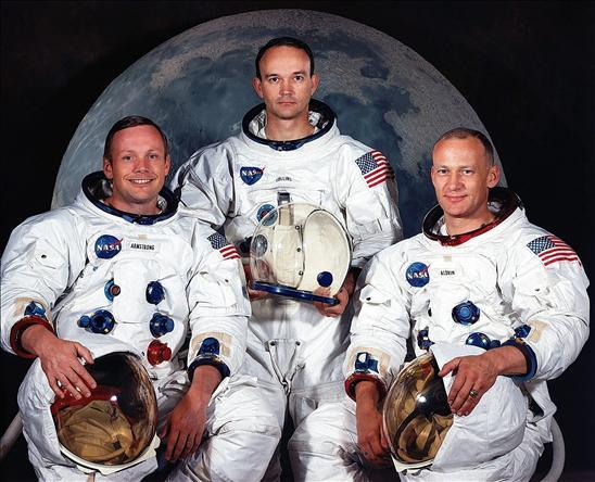Los astronautas: William Anders, Jim Lovell y Frank Borman.