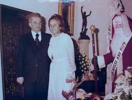 Nicolae Ceausescu y su esposa Elena en la Navidad de 1979