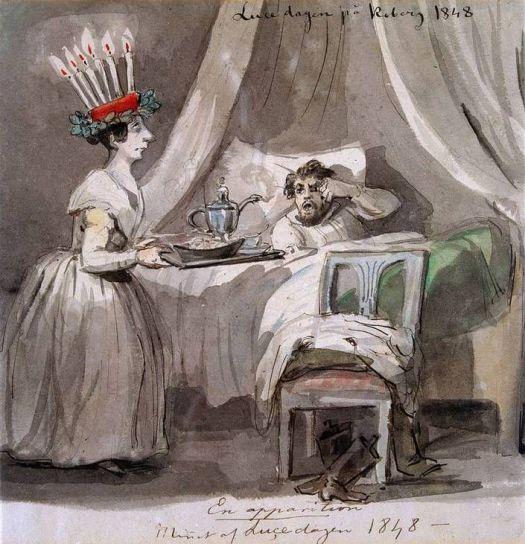 Primera pintura conocida de la Festividad sueca de Santa Lucía. pintada en 1848 en Koberg Castle, Västergötland (Suecia)