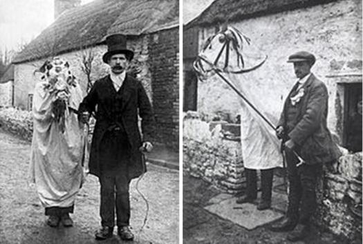 Fotografías de la Mari Lwyd de Llangynwyd , (Glamorgan). La de la izquierda es de entre 1904 y 1910, y la de la derecha entre 1910 y 1914.