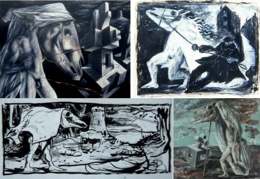 Clive Hicks-Jenkins, dibujos de todo el año 2000 que se centró en un caballo metamorfosis / hombre como un presagio de pesadilla de la muerte de su padre