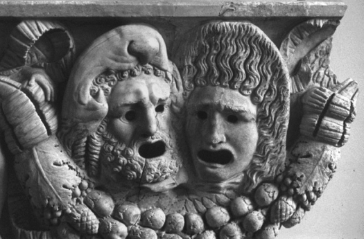 Máscaras tradicionales griegas. Friso en piedra en el Museo de Pérgamo de Berlín.
