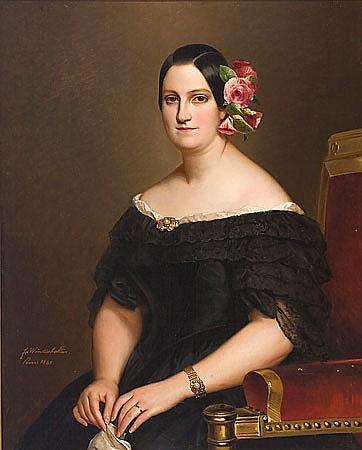 María Cristina de Borbón-Dos Sicilias por Franz Xaver Winterhalter realizado en París en 1841
